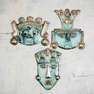 Bronze masks, 'Ancient Trio' (set of 3) - Archaeological Bronze and Copper Masks (Set of 3)