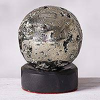 Pyrite sphere, 'Reflections' - Pyrite Sphere Sculpture on Onyx Stand