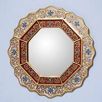 Mirror, 'White Star' - Reverse Painted Glass Wood Mirror from Peru