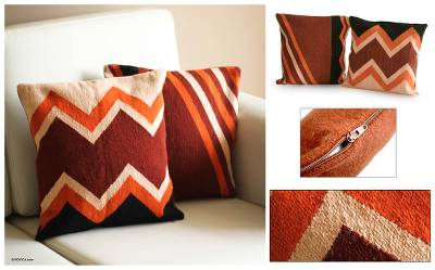 Wool cushion covers, 'Mountains' (pair) - Handmade Peruvian Geometric Wool Cushion Covers (Pair)