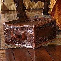 Tooled leather ottoman cover, 'Colonial Cube' - Tooled leather ottoman cover