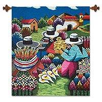 Wool tapestry, 'Flower Sellers' - Hand Crafted Floral Wool Tapestry Wall Hanging