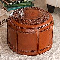 Tooled leather ottoman cover, 'Spanish Elegance' - Colonial Leather Pouf Ottoman Cover