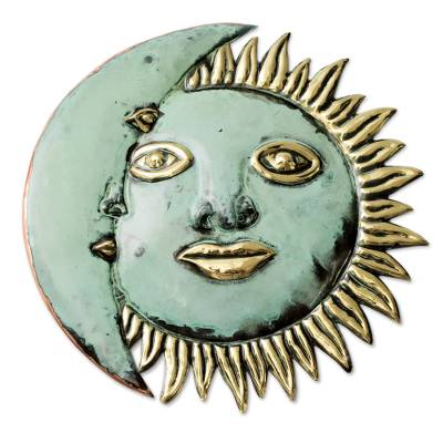 Copper eclipse, 'Stellar Guidance' - Handmade Sun and Moon Copper and Bronze Wall Art