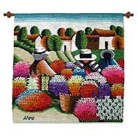 Wool tapestry, 'Flower Fiesta' (Peru)