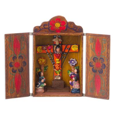 Hand Made Religious Wood Retablo Diorama Andean Folk Art