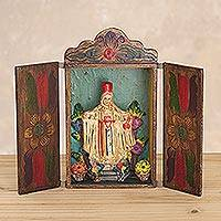 Retablo, 'Our Lady of Mount Carmel' - Hand Made Folk Art Retablo Sculpture