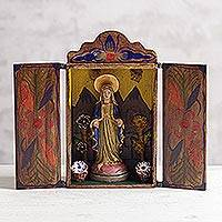 Painted wood retablo, 'Virgin Mary' - Painted Wood Retablo Andes Folk Art Handmade in Peru