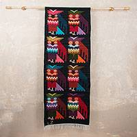 Wool tapestry, 'Night Owls' - Wool tapestry