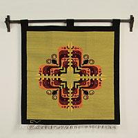 Wool tapestry, 'Cross of Butterflies'