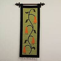 Wool tapestry, 'Cantuta Flower' - Wool tapestry