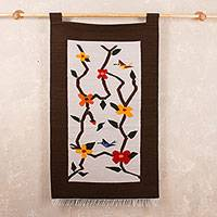 Wool tapestry, 'Peaceful Spring' - Fair Trade Floral Wool Tapestry