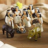 Ceramic nativity scene, 'Shipibo Christmas' - Ceramic nativity scene