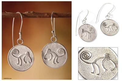 Earrings, Nazca Monkeys