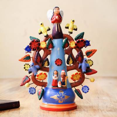 Ceramic candleholder, 'Christmas Light' - Hand Made Christianity Ceramic Tree of Life Candle Holder