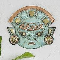 Copper mask, 'Warrior's Courage' - Copper Moche Mask Wall Art