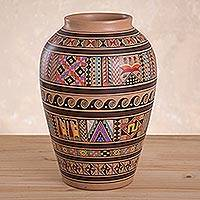 Cuzco vase, 'Inca Spirit' - Cuzco Ceramic Decorative Vase Handmade in Peru
