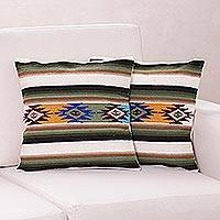 Wool cushion covers, 'Solar Enchantment' (pair) - Hand Made Wool Striped Cushion Covers (Pair)