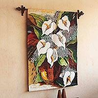 Wool tapestry, 'Lilies' - Wool tapestry