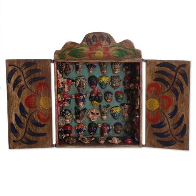 Wood retablo, 'Mask Collection' - Unique Wood Retablo Folk Art Sculpture