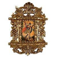 'Saint Michael' - Religious Colonial Replica Painting with Gilded Frame