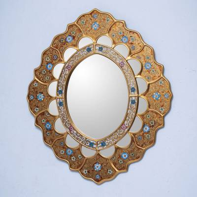 Mirror, 'Sweet Flower Majesty' - Reverse Painted Glass Mirror Wall Decor