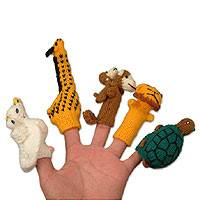Wool finger puppets, 'Gifts for Puppeteers' (set of 5) - Handmade Assorted Wool Animal Finger Puppets
