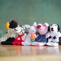 Wool finger puppets Playful Farm Animals Peru