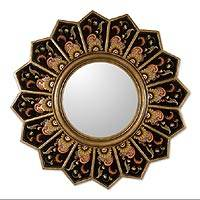 Mirror, 'Sunflower Fan' - Hand Crafted Reverse Painted Glass Wood Mirror