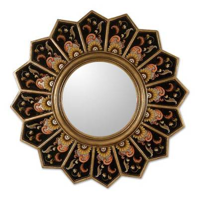 Hand Crafted Reverse Painted Glass Wood Mirror