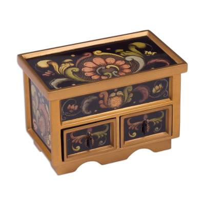 Collectible Reverse Painted Glass Decorative Jewelry Box