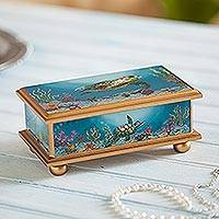 Painted glass box, 'Sea Life' - Painted glass box