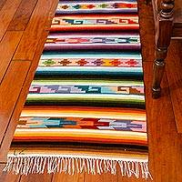 Wool runner, 'The Color of History' (2x10) - Hand Made Geometric Wool Runner (2x10)