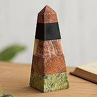 Gemstone statuette, 'Energy Obelisk' - Gemstone Obelisk Statuette Hand Carved in Peru