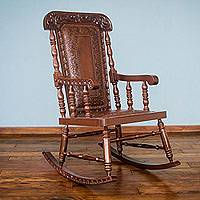 Cedar and leather rocking chair, 'Nobility' - Traditional Wood Leather Rocking Chair