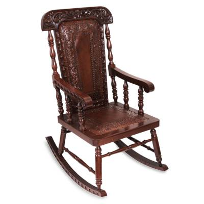 Traditional Wood Leather Rocking Chair