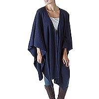 Alpaca blend shawl, 'Versatile Blue' - Alpaca Wool Solid Blue Shawl Wrap