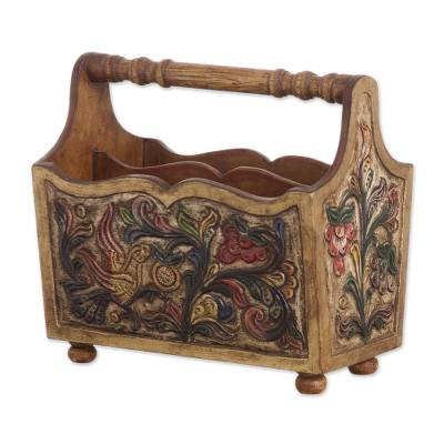 Leather and mahogany magazine rack, 'Songbirds' - Hand Tooled Leather and Mahogany Magazine Rack