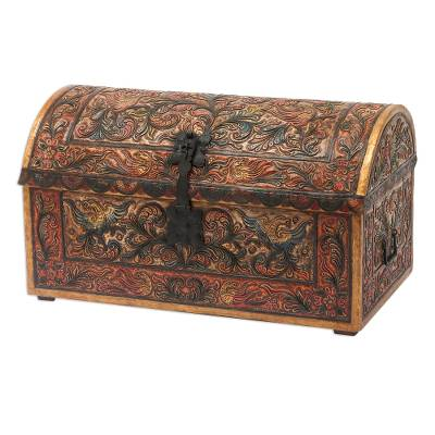 Wood and leather trunk, 'Andean Ivy' - Colonial Leather Wood Chest