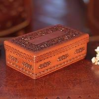 Tooled leather box, 'Lope de Vega' - Handcrafted Tooled Leather Decorative Box