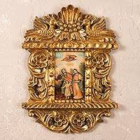Cedar altarpiece, 'Sacred Family' - Religious and Spiritual Multicolor Colonial Replica Painting