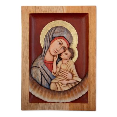 Cedar relief panel, 'Virgin of Caresses' - Religious Cedar Relief Panel Wall Art