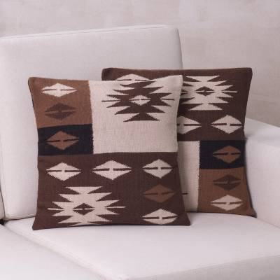Alpaca blend cushion covers, 'Starlight on Earth' (pair) - Hand Made Geometric Alpaca Blend Cushion Covers (Pair)