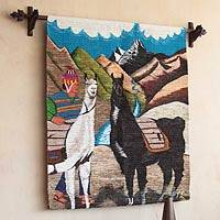 Wool tapestry, 'Llama Herdsman' - Llama Themed Wall Tapestry
