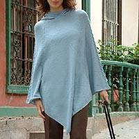 Alpaca blend poncho with hood, 'Winter Magic'