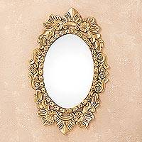 Mirror, 'Wreath of Peace' - Ornate Bronze Leaf Oval Wall Mirror