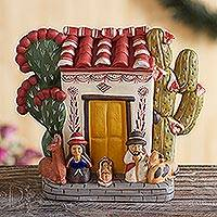 Ceramic nativity scene, 'Christmas at Home' - Ceramic nativity scene