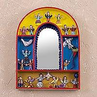 Mirror, 'Children's Joy for Peace' - Peruvian Folk Art Wooden Retablo Mirror