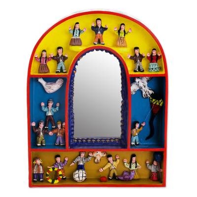 Fair Trade Folk Art Wood Retablo Mirror from Peru