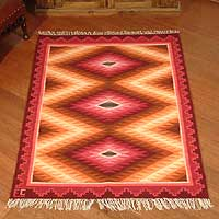 Wool rug, 'Red Radiance' (4x5) - Wool rug (4x5)